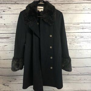 Vintage Wool Coat Faux Fur Trim Large